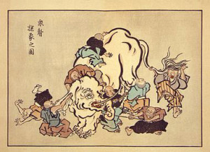 """Blind monks examining an elephant"" by Hanabusa Itchō (1652–1724)."